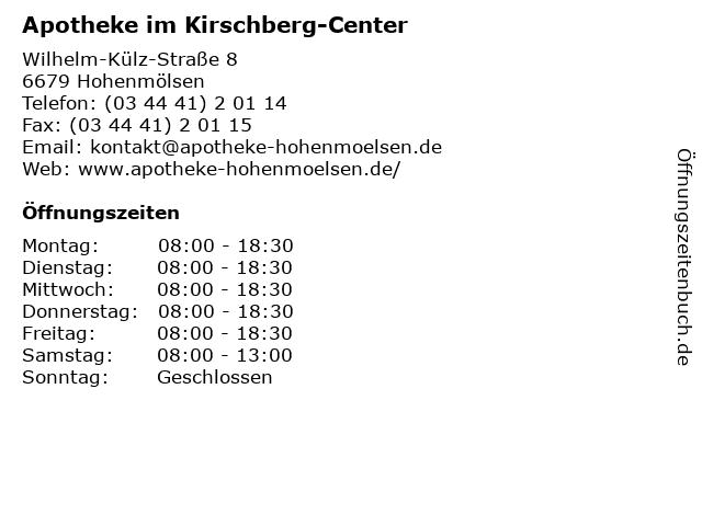 Apotheke im Kirschberg-Center in Hohenmölsen: Adresse und Öffnungszeiten