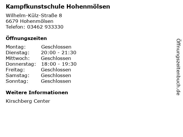 Kampfkunstschule Hohenmölsen in Hohenmölsen: Adresse und Öffnungszeiten