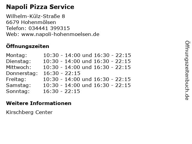 Napoli Pizza Service in Hohenmölsen: Adresse und Öffnungszeiten
