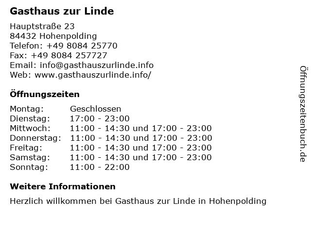 Gasthaus zur Linde in Hohenpolding: Adresse und Öffnungszeiten