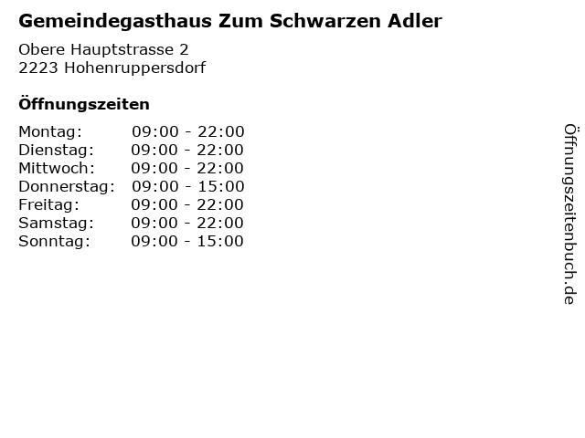 Gemeindegasthaus Zum Schwarzen Adler in Hohenruppersdorf: Adresse und Öffnungszeiten