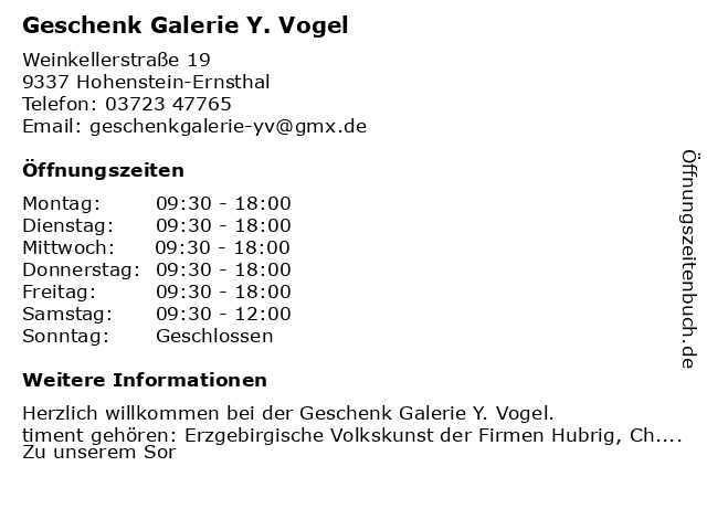 Geschenk Galerie Y. Vogel in Hohenstein-Ernsthal: Adresse und Öffnungszeiten