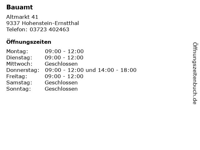 Bauamt in Hohenstein-Ernstthal: Adresse und Öffnungszeiten
