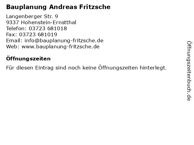 Bauplanung Andreas Fritzsche in Hohenstein-Ernstthal: Adresse und Öffnungszeiten