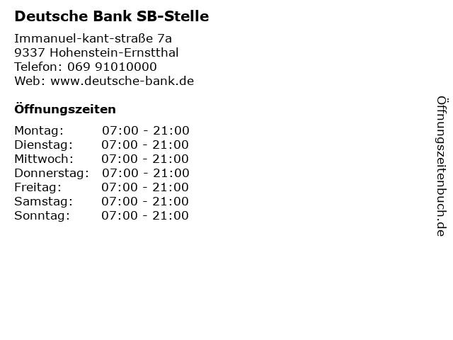 Deutsche Bank SB-Stelle in Hohenstein-Ernstthal: Adresse und Öffnungszeiten