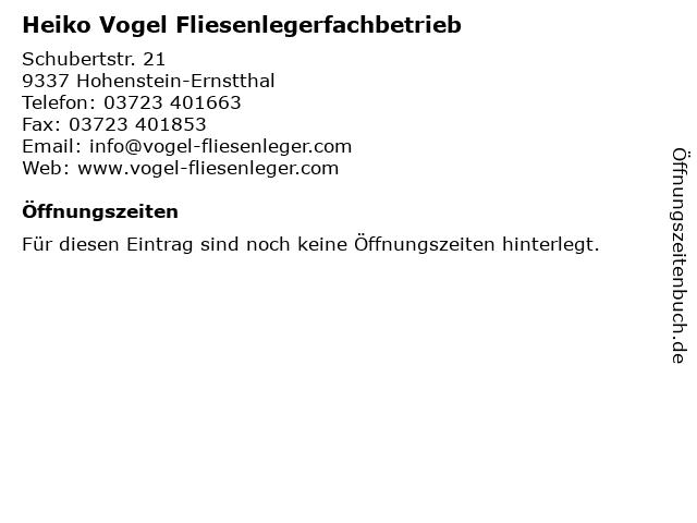 Heiko Vogel Fliesenlegerfachbetrieb in Hohenstein-Ernstthal: Adresse und Öffnungszeiten
