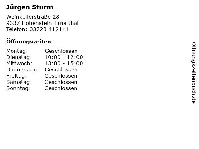 Jürgen Sturm in Hohenstein-Ernstthal: Adresse und Öffnungszeiten