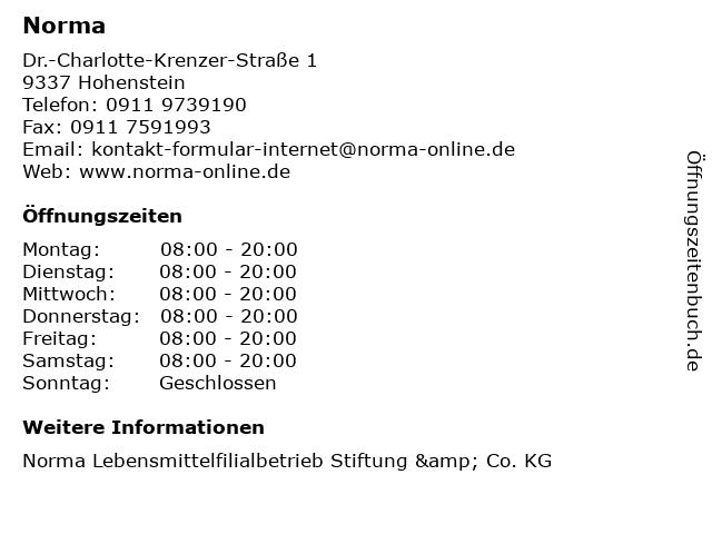 Norma in Hohenstein: Adresse und Öffnungszeiten