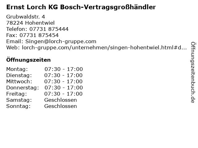 Ernst Lorch KG Bosch-Vertragsgroßhändler in Hohentwiel: Adresse und Öffnungszeiten