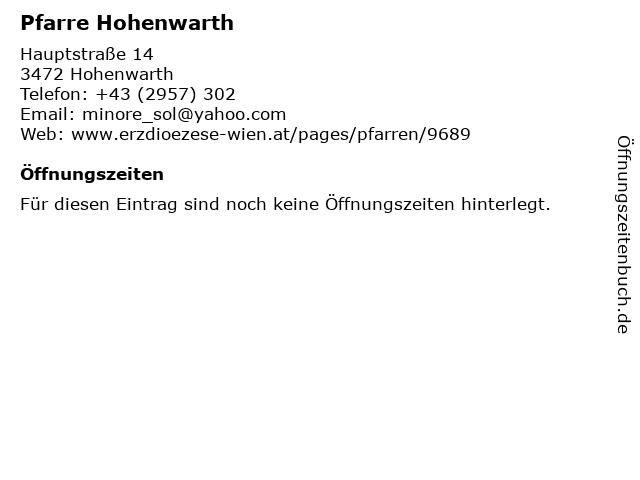 Pfarre Hohenwarth in Hohenwarth: Adresse und Öffnungszeiten