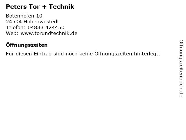 Peters Tor + Technik in Hohenwestedt: Adresse und Öffnungszeiten