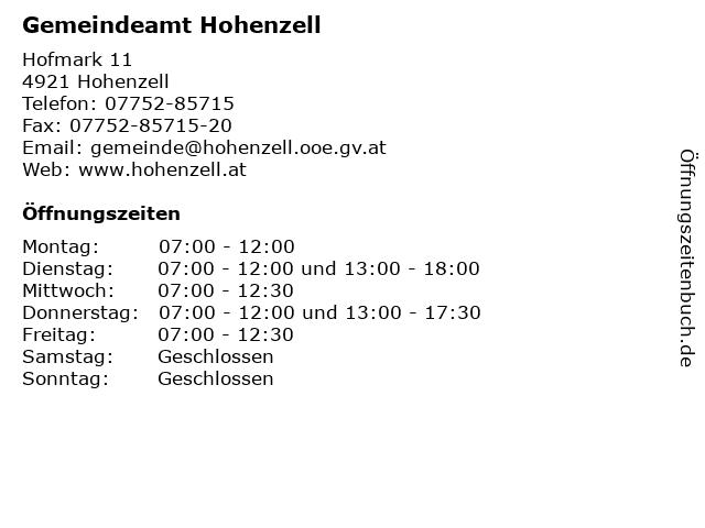 Gemeindeamt Hohenzell in Hohenzell: Adresse und Öffnungszeiten