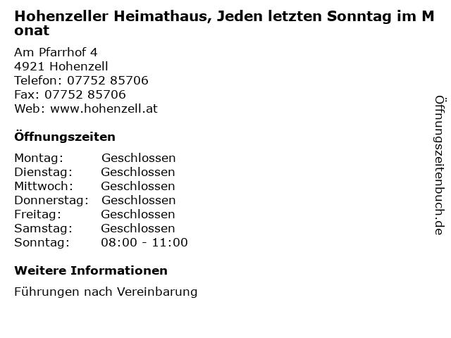 Hohenzeller Heimathaus, Jeden letzten Sonntag im Monat in Hohenzell: Adresse und Öffnungszeiten