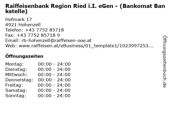 Raiffeisenbank Region Ried i.I. eGen - (Bankomat Bankstelle) in Hohenzell: Adresse und Öffnungszeiten