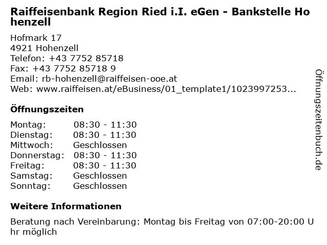 Raiffeisenbank Region Ried i.I. eGen - Bankstelle Hohenzell in Hohenzell: Adresse und Öffnungszeiten