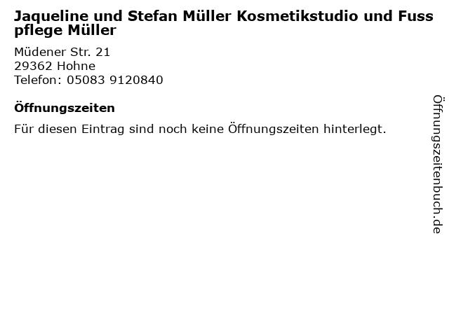 Jaqueline und Stefan Müller Kosmetikstudio und Fusspflege Müller in Hohne: Adresse und Öffnungszeiten