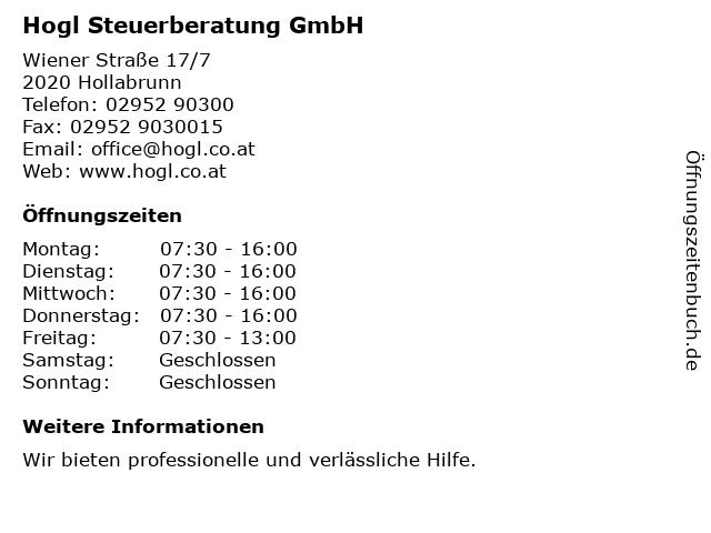 Mag. Wilhelm Hogl in Hollabrunn: Adresse und Öffnungszeiten