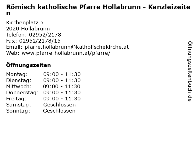 Römisch katholische Pfarre Hollabrunn - Kanzleizeiten in Hollabrunn: Adresse und Öffnungszeiten