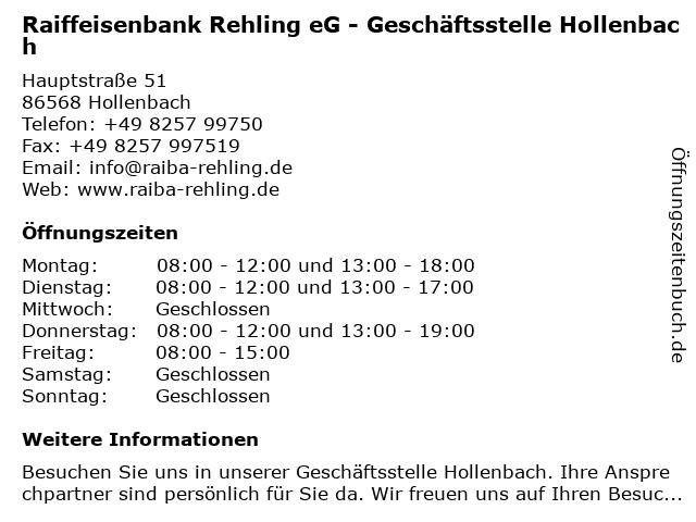 Raiffeisenbank Rehling eG - Geschäftsstelle Hollenbach in Hollenbach: Adresse und Öffnungszeiten