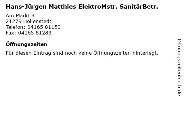 Hans-Jürgen Matthies ElektroMstr. SanitärBetr. in Hollenstedt: Adresse und Öffnungszeiten