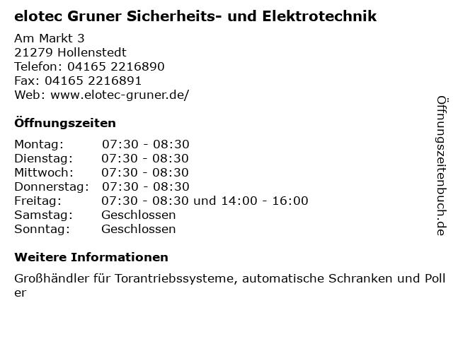 elotec Gruner Sicherheits- und Elektrotechnik in Hollenstedt: Adresse und Öffnungszeiten