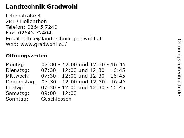 Landtechnik Gradwohl in Hollenthon: Adresse und Öffnungszeiten