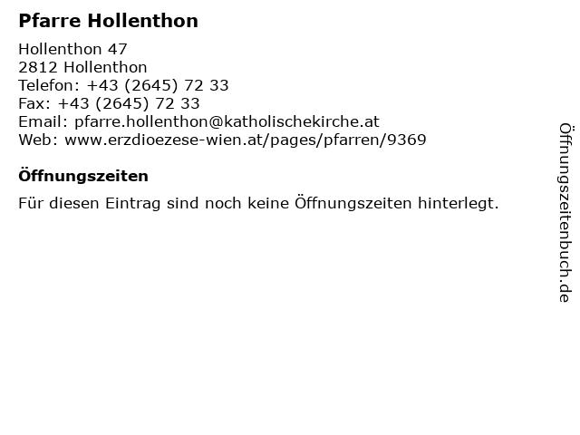 Pfarre Hollenthon in Hollenthon: Adresse und Öffnungszeiten