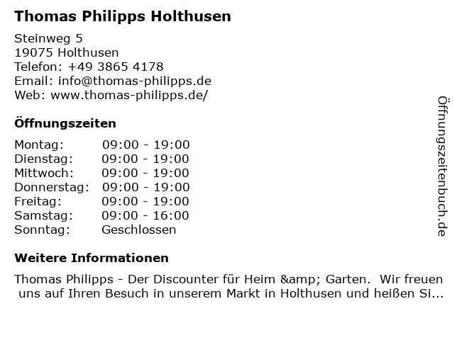 Thomas Philipps GmbH & Co. KG in Holthusen: Adresse und Öffnungszeiten