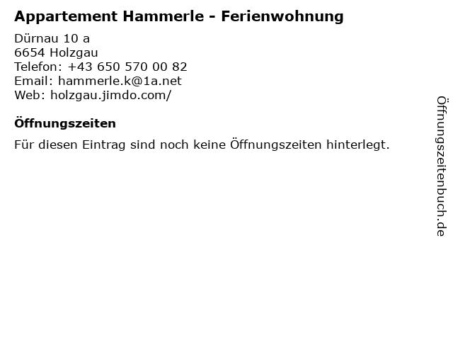 Appartement Hammerle - Ferienwohnung in Holzgau: Adresse und Öffnungszeiten