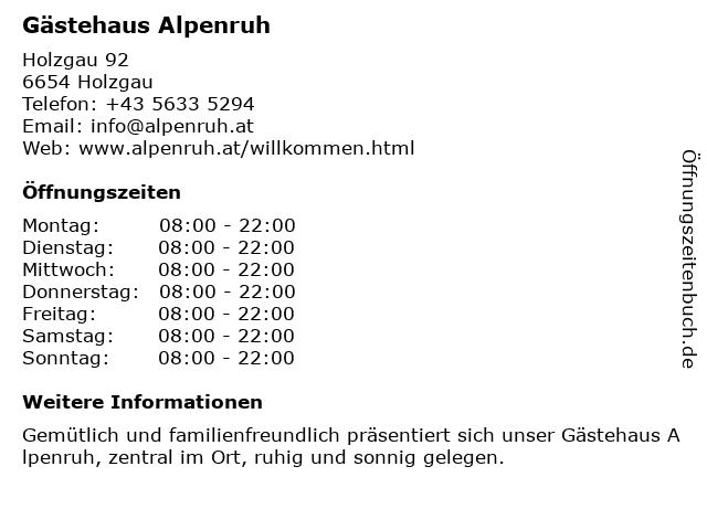 Gästehaus Alpenruh in Holzgau: Adresse und Öffnungszeiten