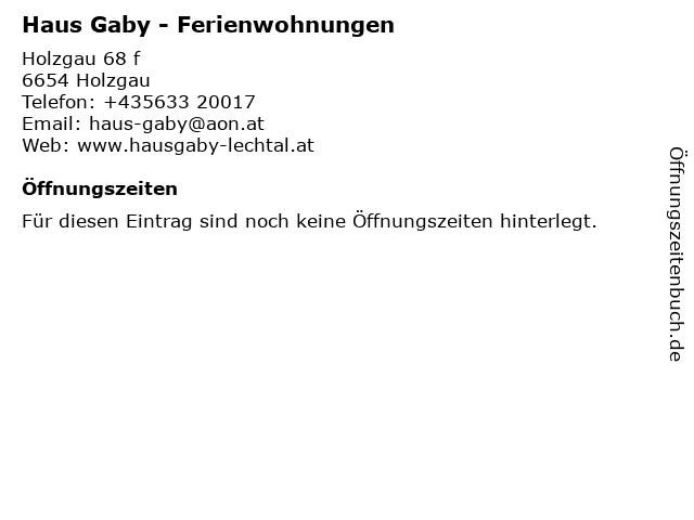 Haus Gaby - Ferienwohnungen in Holzgau: Adresse und Öffnungszeiten