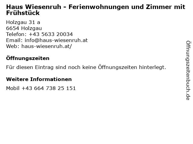 Haus Wiesenruh - Ferienwohnungen und Zimmer mit Frühstück in Holzgau: Adresse und Öffnungszeiten