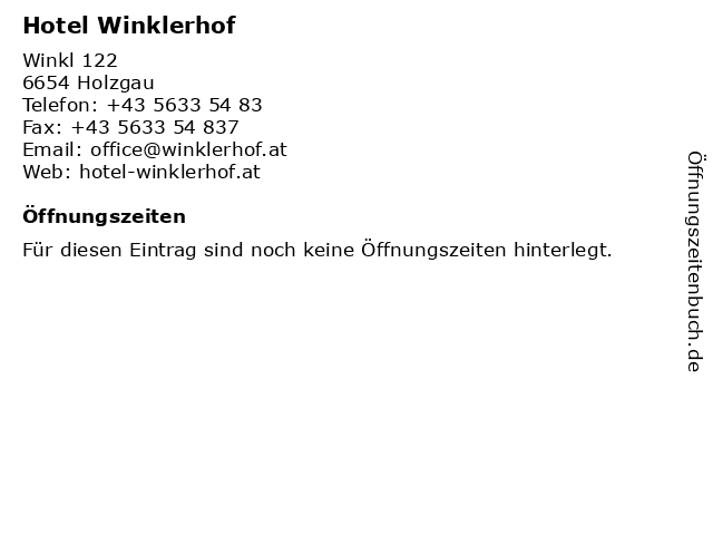 Hotel Winklerhof in Holzgau: Adresse und Öffnungszeiten