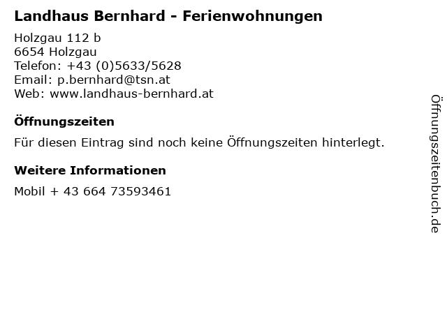 Landhaus Bernhard - Ferienwohnungen in Holzgau: Adresse und Öffnungszeiten