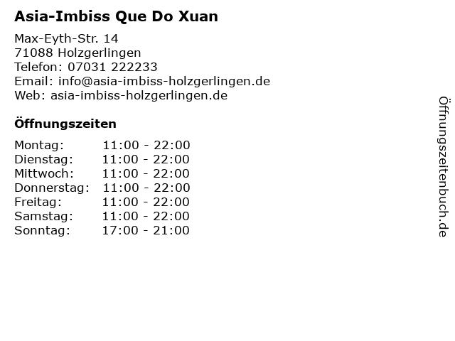 Asia-Imbiss Que Do Xuan in Holzgerlingen: Adresse und Öffnungszeiten