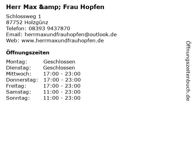 Herr Max & Frau Hopfen in Holzgünz: Adresse und Öffnungszeiten