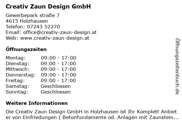 ᐅ Offnungszeiten Creativ Zaun Design Gmbh Gewerbeparkstrasse 7 In
