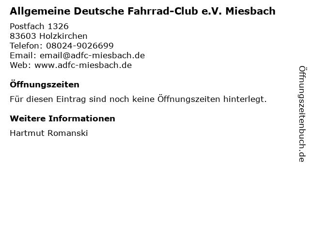 Allgemeine Deutsche Fahrrad-Club e.V. Miesbach in Holzkirchen: Adresse und Öffnungszeiten