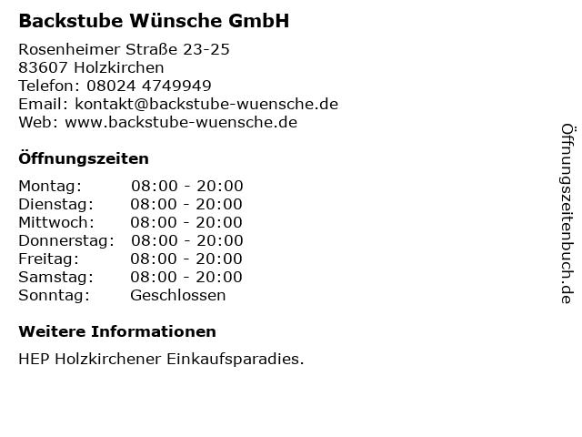 Backstube Wünsche GmbH in Holzkirchen: Adresse und Öffnungszeiten