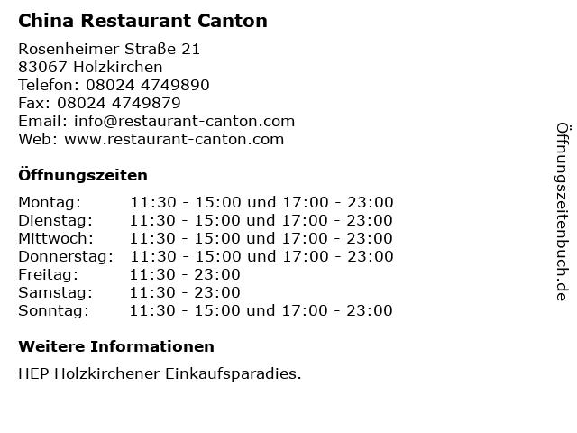 China Restaurant Canton in Holzkirchen: Adresse und Öffnungszeiten