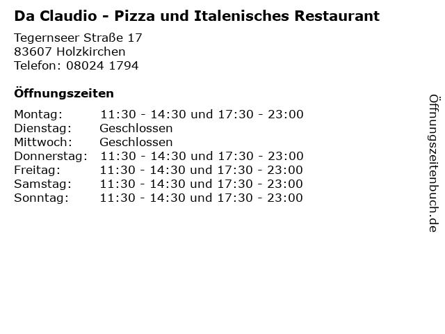 Da Claudio - Pizza und Italenisches Restaurant in Holzkirchen: Adresse und Öffnungszeiten