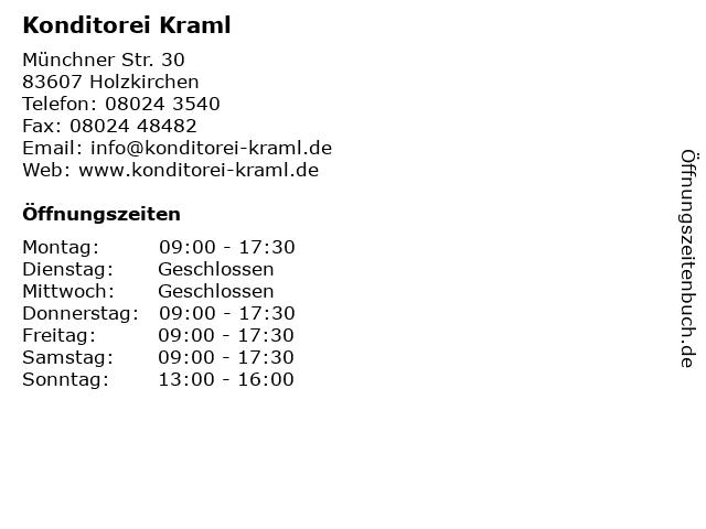 Konditorei Kraml in Holzkirchen: Adresse und Öffnungszeiten