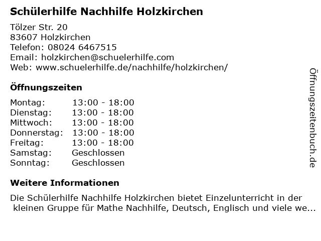 Schülerhilfe in Holzkirchen: Adresse und Öffnungszeiten