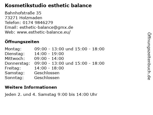 Kosmetikstudio esthetic balance in Holzmaden: Adresse und Öffnungszeiten
