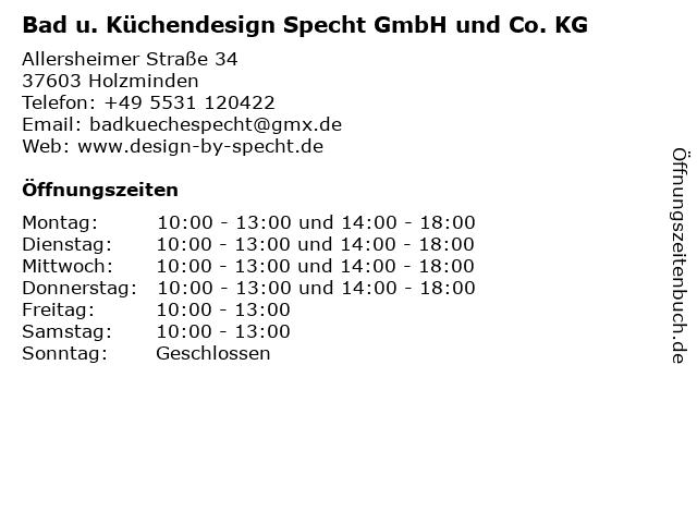 ᐅ Offnungszeiten Bad U Kuchendesign Specht Gmbh Und Co Kg Allersheimer Strasse 34 In Holzminden