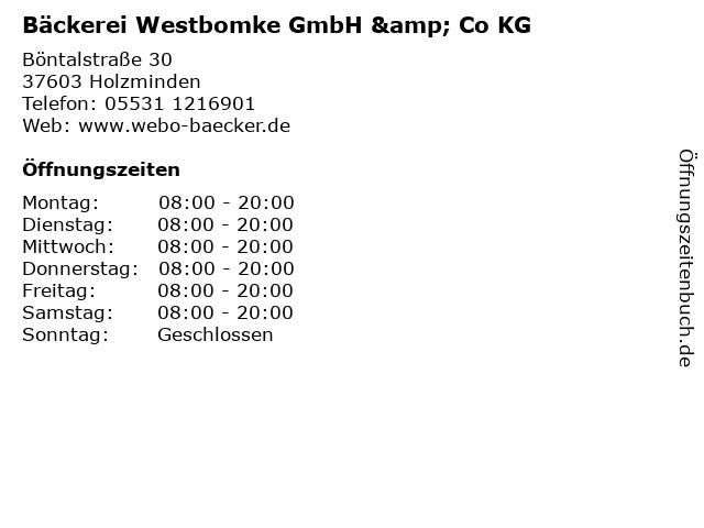 Bäckerei Westbomke GmbH & Co KG in Holzminden: Adresse und Öffnungszeiten