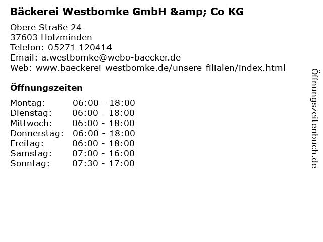 ᐅ Offnungszeiten Backerei Westbomke Gmbh Co Kg Obere Strasse 24 In Holzminden