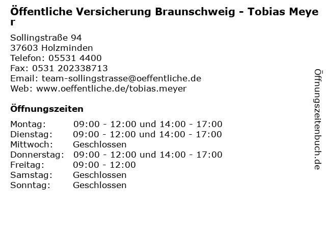 ᐅ Offnungszeiten Offentliche Versicherung Tobias Meyer