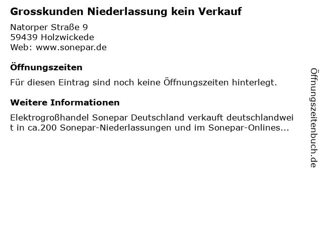 Grosskunden Niederlassung kein Verkauf in Holzwickede: Adresse und Öffnungszeiten
