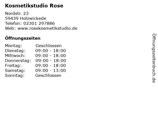 Kosmetikstudio Rose in Holzwickede: Adresse und Öffnungszeiten